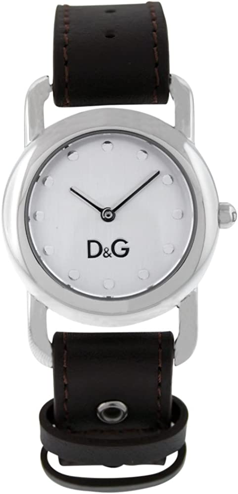 D&G Dolce and Gabbana DW0641 Women's Stainless Steel Silver Tone Dial Quartz Leather Strap
