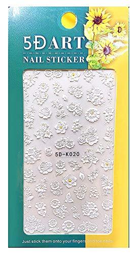 5D Nagelsticker Blüten weiß (5D-K020) selbstklebende Nagelsticke, sehen aus wie echt