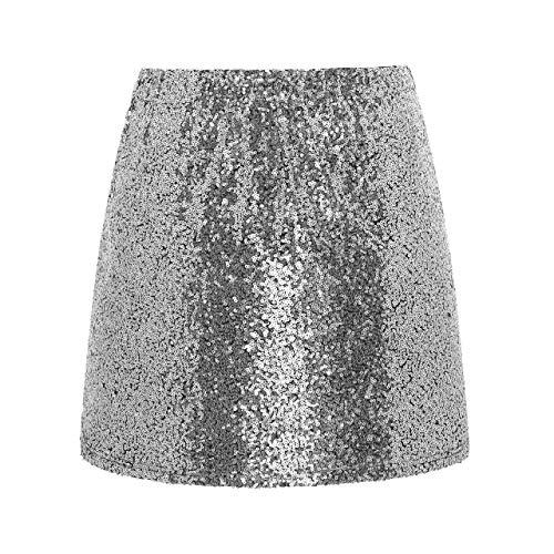 Metme Damen Glitter Röcke Figurbetontes Kleid Stretch Glänzender Minirock mit Pailletten