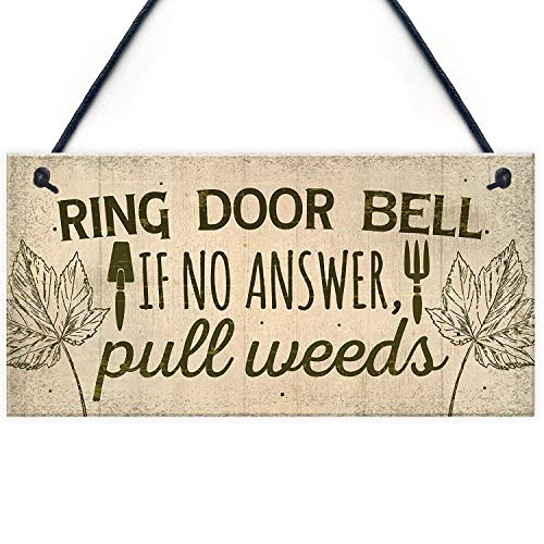 MAIYUAN Ring The Door Bell If No Answer, Pull Weeds Wall Door Gate Wood Signs Garden Shed Nan Mum Home Decor Friend Gifts 10