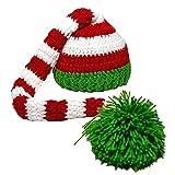 Kafeimali Baby Christmas Elf Long Tail Crochet Beanie Knit Hat Stocking Caps (Green 1)