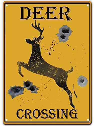PXIYOU Señal de ciervo cruzando con agujeros en forma de bala, estilo retro, vintage, para decoración del hogar, 20 x 30 cm, color amarillo