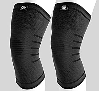 Fit Active Sports Flex Compression Knee Sleeves (2 Sleeves) Brace for Men & Women - Knee Support for Weight Lifting, Gym Workout, Cross Training, Running, Sports and More.