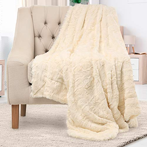 Everlasting Comfort Manta de piel sintética de lujo, ultra suave y esponjosa, manta de felpa para sofá cama y sala de estar, otoño invierno y primavera, 50 x 65 cm (tamaño completo), color marfil