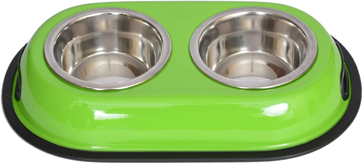 Iconic Pet color Splash Stainless Steel Double Diner (Green) for Dog Cat, 16Ounce, 2 Cup