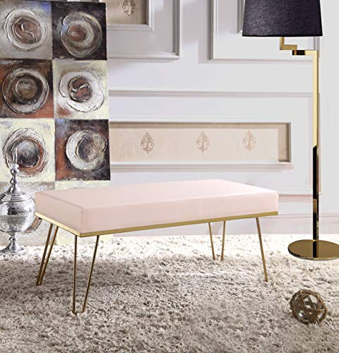 Iconic Home Leather Upholstered Aldo bench, Pale Rose