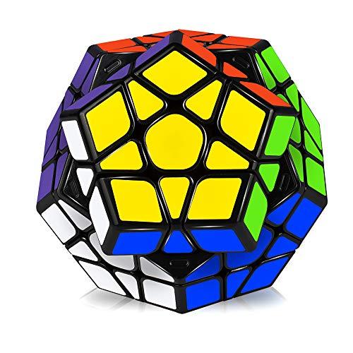 JQGO Megaminx Speed Magic Puzzle Cube, 3D Puzzle Magic Cube Toys Dodecaedro Rompecabezas Juguetes educativos para niños y Adultos, Negro