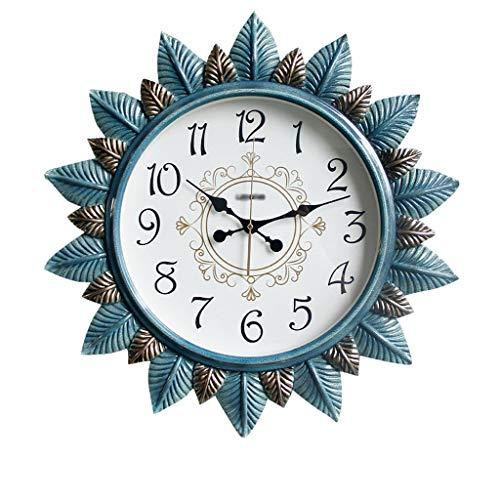 MANLADA-1 Round Wanduhr, Dreidimensionales Blatt Dekoration Wanduhr weißes Zifferblatt arabische Ziffern Wanduhr (Color : B, Size : 62 * 62 * 6.8cm)