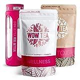 WOW TEA Kit Purificador: 21 Dias Detox Té   Té Adelgazante Para Bajar de Peso   Mezcla de Té de Hierbas Orgánicas de Desintoxicación, Control de Perdida de Peso   Botella de Infusor   300g, Made in EU
