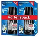 SodaStream Fizzi - Juego de 2 gasificadores de agua (1 cilindro y 1 botella de PET de 1 litro, sin BPA), color negro
