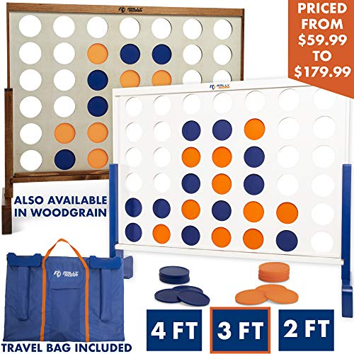 Giant 4 in A Row, 4 to Score with Carrying Bag - Premium Wooden Four Connect Game Set in 3' White Wood by Rally & Roar - Oversized Family Outdoor Party Games for Backyard, Lawn, Parties, Bar Game