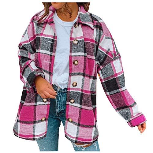 Fitzac Camisas de mujer de manga larga a cuadros elegantes para mujer, tops con botones, chaquetas de lana entalladas, chaquetas de moda 2021, Rosa., XXL