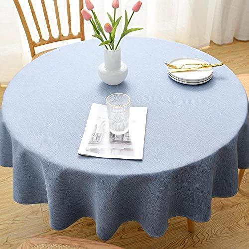 XQSSB Mantel Mesa Rectangular Impermeable Cubremesa Lino Di Cotone para de Hogar Picnic del Hotel Tienda de Café Cerchio Azzurro Diametro 200cm