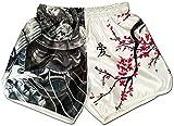 Muay Thai Shorts Kickboxing Martial Arts Combat Fight MMA UFC Boxer Boxing Trunks (L, Cherry Blossom Samurai)
