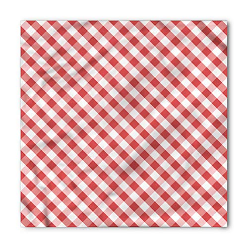 Ambesonne Unisex Bandana, Checkered Retro Red Squares, Coral Pink