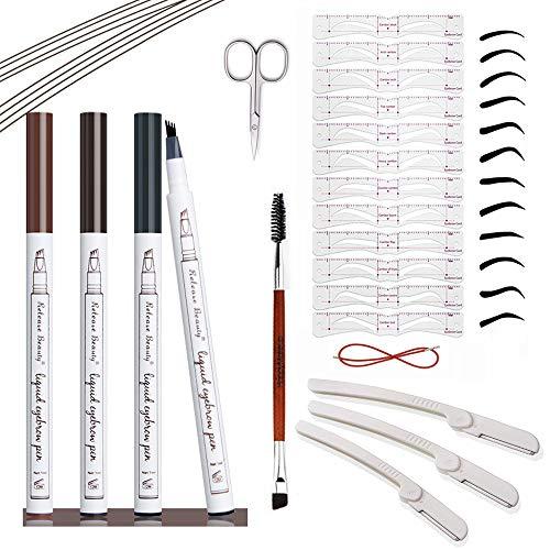 3 PCS Eyebrow Tattoo Pen, Waterproof Microblading Eyebrow Pencil Micro-Fork Tip Applicator Natural Looking,Eyebrow Stencil,12 Eyebrow Shaper kit,3 pcs Shave Eyebrow Razor,(Chestnut Brown Black Grey)