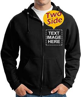 Custom Full Zip Hoodies Sweatshirt for Men Design Your Own Two-Sided Printed