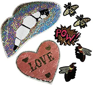 Peach Heart Sequins Letter Embroidery Insect Bee Embroidered Iron Embroidery Badge Decals (Silver Powder Series)