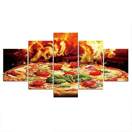 COCOCI 5 Teilige Wandbilder 5 Leinwandbilde 5 Teilige Leinwand Food Pizza Lifestyle HD Art Bilder Mit Rahmen Mehrteilige Wandbilder Leinwandbilder XXL FüR Deko Schlafzimmer Deko Wohnzimmer