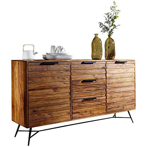 Wohnling Design Sideboard Nishan 160x40x88 cm Sheesham Massiv Holz | Kommode mit Türen & Schubladen | Massive Anrichte Industrial | Massivholz Schrank mit Metallbeinen