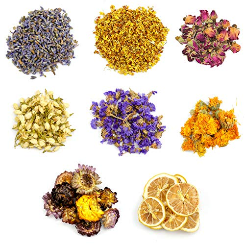 Dreamtop Dried Flowers, 8 Types Natural Flowers Dried Flower Kit - Lemon Slice, Strawflower, Osmanthus, Jasmine, Rose, Forget-me-not, Marigold, Lavender for Soap Candle Making DIY Supplies