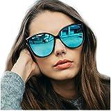 Gafas de sol polarizadas de ojo de gato para mujeres, gafas de moda vintage para la conducción de pesca - 100% de protección UV400 (Marco Negro/Lente Azul)
