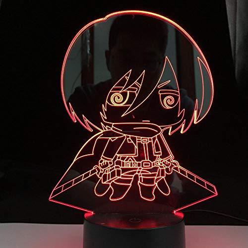 DAJIE Figura de Chibi en 3D de ataque de luz nocturna en titanio Levi Ackerman Chibi para decoración, luz multicolor, batería de noche, regalo