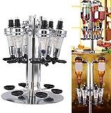 Liquor Dispenser, Bar Butler Liquor Dispenser Liquor Bottle Holder, Professional Revolving Alcohol Caddy Beer Cocktail Soda Shot Dispenser Wine Holder Party Drinking Pourer (Rotated Mounted-6 Bottle)