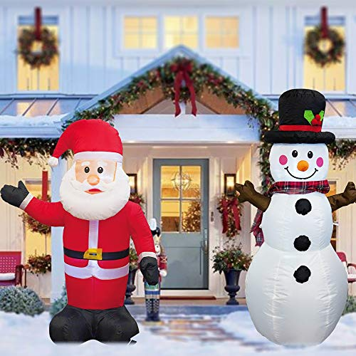 FUNPENY 4 FT Set of 2 Christmas Inflatable Santa Claus with Snowman, Indoor Outdoor Inflatable Christmas Decorations with Built-in LEDs, Christmas Blow up Decor for Yard Lawn Patio Garden Party
