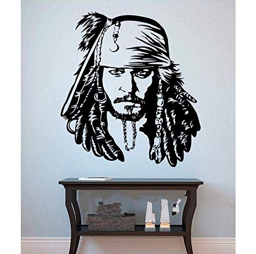 Wandaufkleber Ankunft Vinyl Wandkunst Aufkleber Jack Sparrow Wandaufkleber Piraten Vinyl Aufkleber The Caribbean Movie Poster Wohnkultur 64X58 Cm