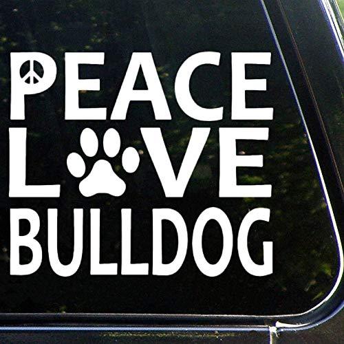 Pegatina de vinilo para coche, diseño de bulldog inglés con texto en inglés 'Peace Love', decoración para ventana, parachoques, portátiles, paredes, ordenador, vaso, teléfono, camión, accesorios de coche lv8mrcrcdgje
