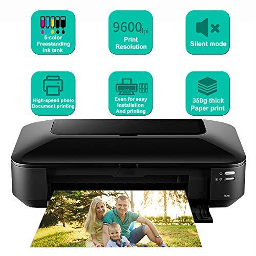 TANCEQI multifunctionele printer (A3 +, 5 kleuren inkttank, vrijstaand, 9600 dpi, mute-modus) met wifi/netwerk/USB (2,4 Ghz)