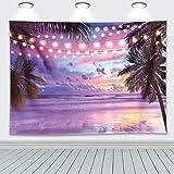 RUINI Polyester Sommer Tropical Beach Lila Meer Hintergrund Sonnenuntergang Hawaiian Seaside Palm Lights Hintergründe Strand Party Mottoparty Hochzeit Baby Shower Foto Hintergrund 2,1 x 1,5 m