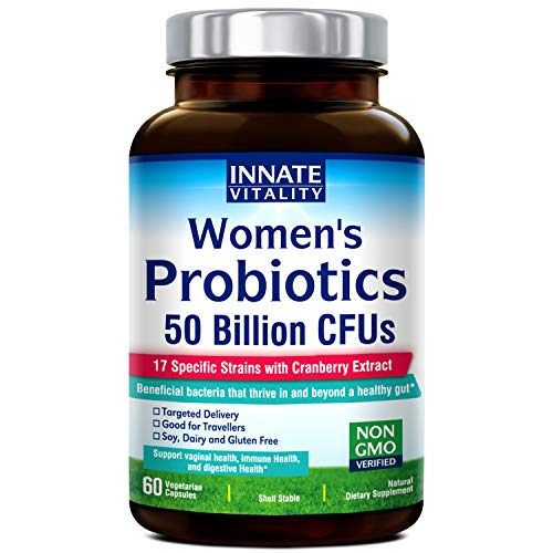 INNATE Vitality Womenâ€TMs Probiotics,50 Billion CFUs,17 Proven Strains, 60 Veggie Caps, Formulated with Prebiotics and Cranberry Extract,Non-GMO, Supports Vaginal, Digestive and Immune Health