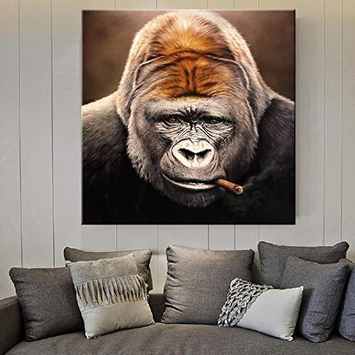 HYY-YY Banksy Graffiti Art Animal Gorilla Smoking Cigar Arte de la Pared Impresión en Lienzo Cuadro de Pintura para Sala de Estar Decoración para niños en el hogar 27.5x27.5 (70x70cm) Sin Marco