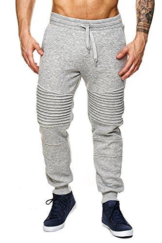 MEGASTYL Herren Jogginghosen Sweat-Pants Biker-Style Slim-Fit 100% Baumwolle, Farbe:Grau, Größe:S