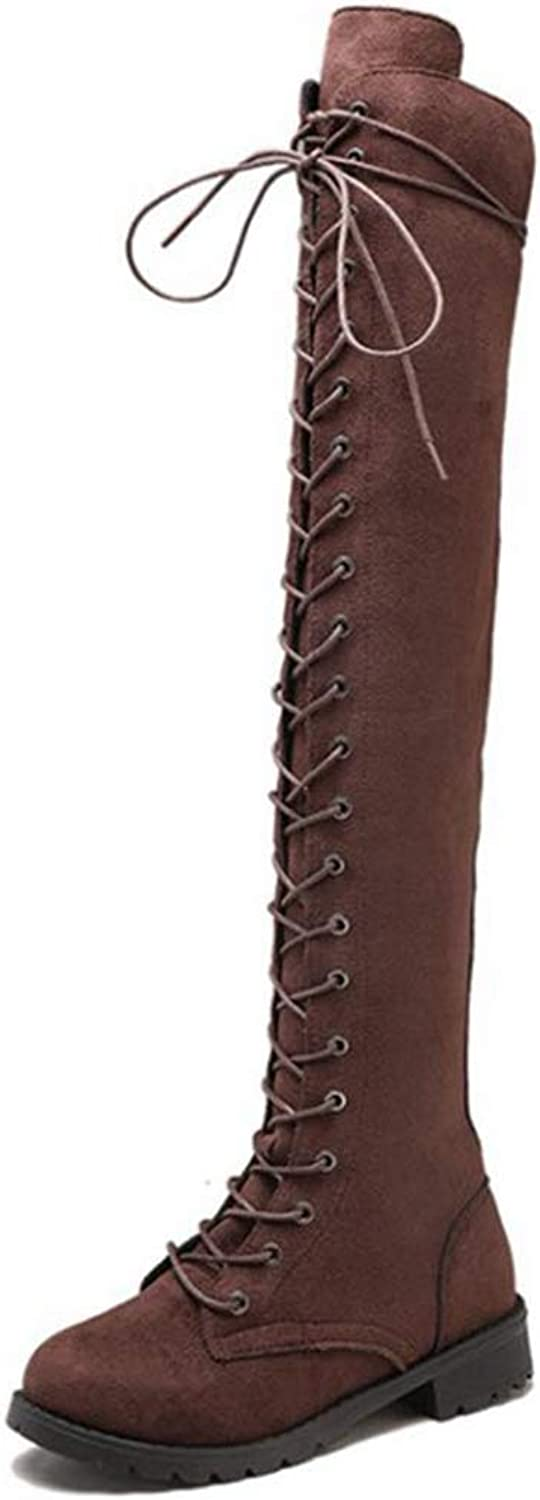 York Zhu Women's Over Knee Boots Chunky Heel Lace up Over-The-Knee High Riding Boots