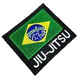 AM0243T 02 BR44 - Parche bordado con la bandera de Jiu-Jitsu de Brasil para kimono, planchar o coser