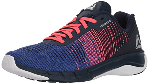 Reebok Boys' Fast Flexweave Running Shoe, COLL Navy/Acid Blue/Acid, 7 M US Big Kid