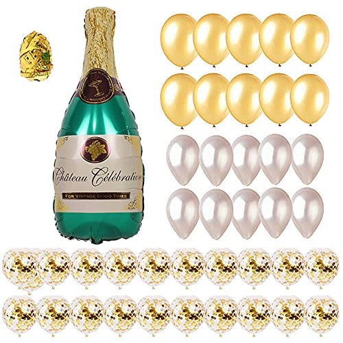 CYBS Champagne Bottle Balloons, Confetti Balloons, Latex Balloons, Party Balloons Garland for Decorations, Used for Christmas Eve, Bride and Hen/Bachelorette Parties.