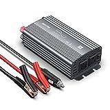 BESTEK 純正弦波 カーインバーター (バッテリー接続クリップ付) 500W 車載充電器 六つ保護機能 DC12VをAC100Vに変換 12V車対応 MRZ5010BU-GY