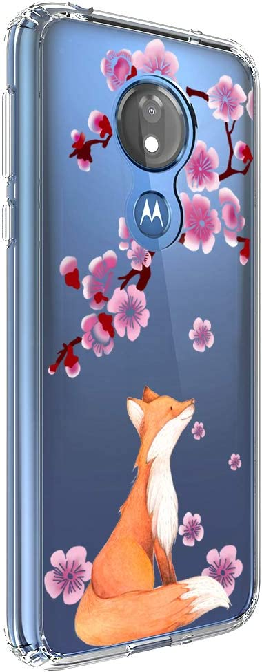 Ftonglogy for Moto G7 Power/Motorola G7 Supra/Optimo Maxx Phone Case Girls Clear Air Buffer TPU Bumper + PC Shockproof Slim Women Floral Flower Cherry Blossoms Protective Cover (Fox)