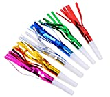 HONBAY 30pcs Glitter Fringed Metallic Noise Maker Birthday, New Year Party Noisemaker, Blowouts Whistles Party Favors