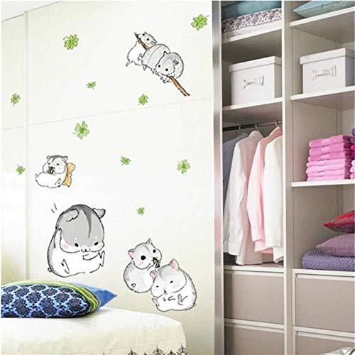 ZPZZPY Muursticker Home Decor Leuke Plezier Hamsters Spelen Muursticker voor Kinderen Kid Slaapkamer Mooie Huisdier Sticker Muursticker Home Deco Spiegel