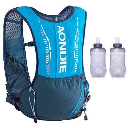 Azarxis Hydration Pack Backpack 5L Hydration Vest Rnning Rucksack, Lightweight Breathable for Trail Marathon Jogging Cycling Hiking Climbing with 2 Pack of 420ml Soft Water Bottle Men Women (Blue)