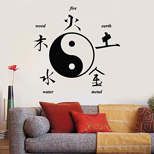 Calcomanía de pared Caracteres chinos orientales Yin Yang Zen Estilo asiático Etiqueta de vinilo decorativa