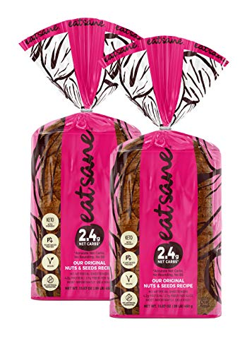 Eatsane Nuts and Seeds Bread Loaf - Keto Friendly, Plant Based Protein, Vegan, Low Carb Bread (Original, 2 Count (Pack of 2))