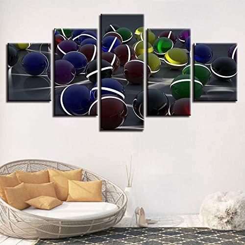 Carteles de lienzo impresos en HD Arte de la pared Pintura de bolas de 5 paneles moderna Decoración del hogar para la sala de estar Cuadros modulares Sin marco-20x35_20x45_20x55cm