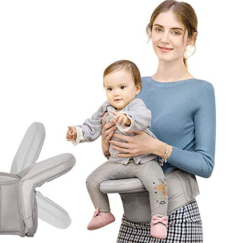 Zimo Foldable Baby Hip Seat Carrier Ergonomic Toddler Waist Seat Ergonomic Waist Carrier with Large Storage Space (Grey)