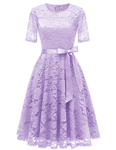 DRESSTELLS Women Floral Lace Dress Casual Swing A-Line Dresses Cocktail Prom Tea Party Bridesmaid Dress Fall/Winter Lavender L
